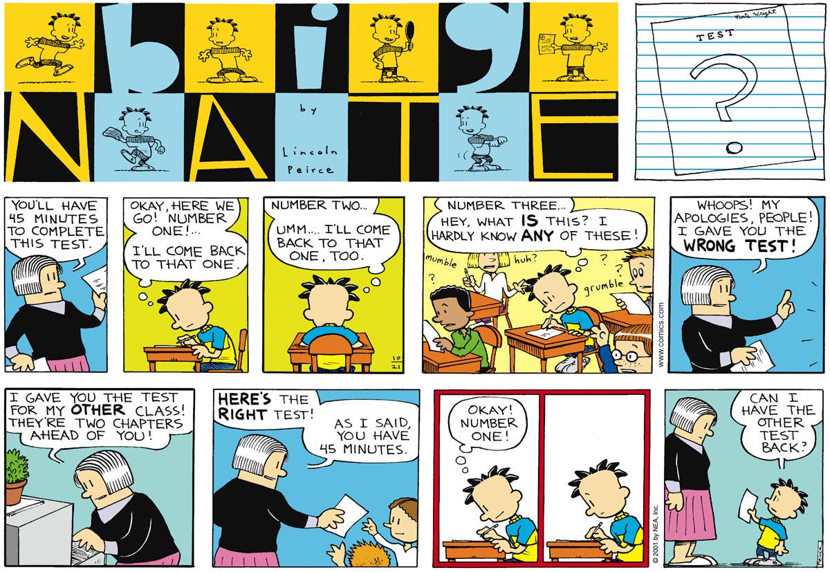 Big Nate Comic Strip for October 21, 2001