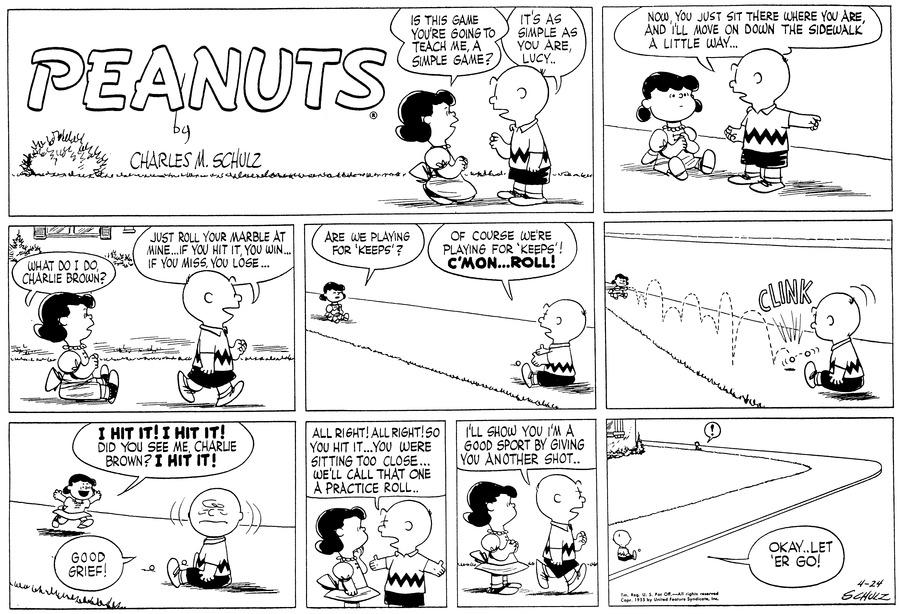 Peanuts for Apr 24, 1955 Comic Strip