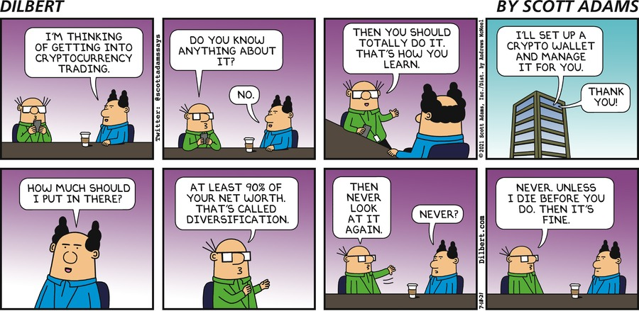 Boss Trades Cryptocurrency  - Dilbert by Scott Adams