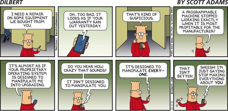 Sunday Suspicious Warranty - Dilbert by Scott Adams