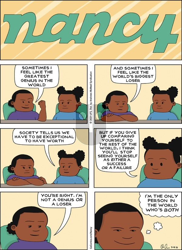 Nancy on Sunday March 14, 2021 Comic Strip