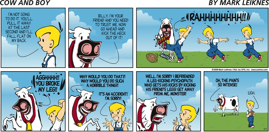 Cow and Boy Classics Comic Strip for October 05, 2008