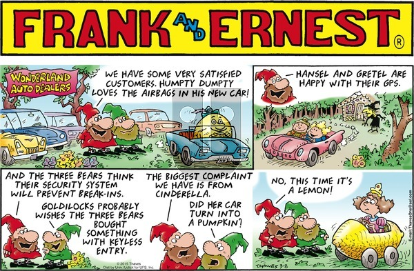 Frank and Ernest on Sunday March 8, 2015 Comic Strip