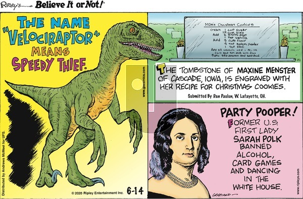 Ripley's Believe It or Not on Sunday June 14, 2020 Comic Strip