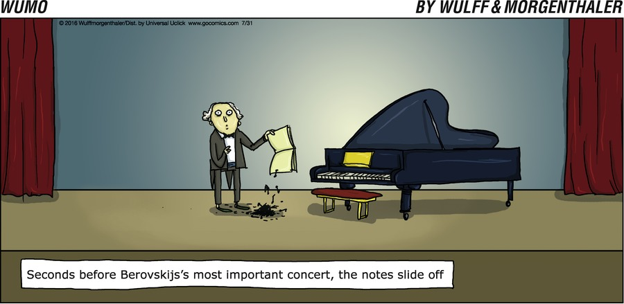 Seconds before Berovskijs's most important concert, the notes slide off