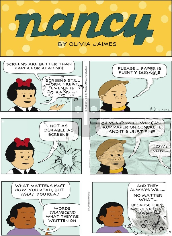 Nancy on Sunday March 29, 2020 Comic Strip