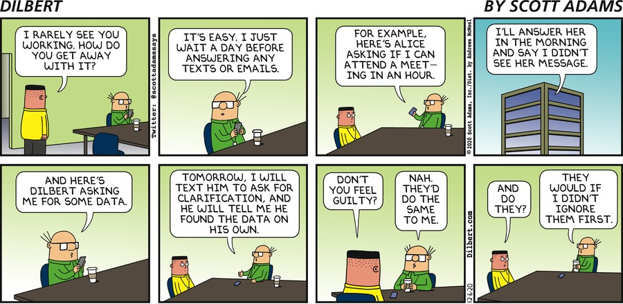 Wally Answers Texts Later  - Dilbert by Scott Adams