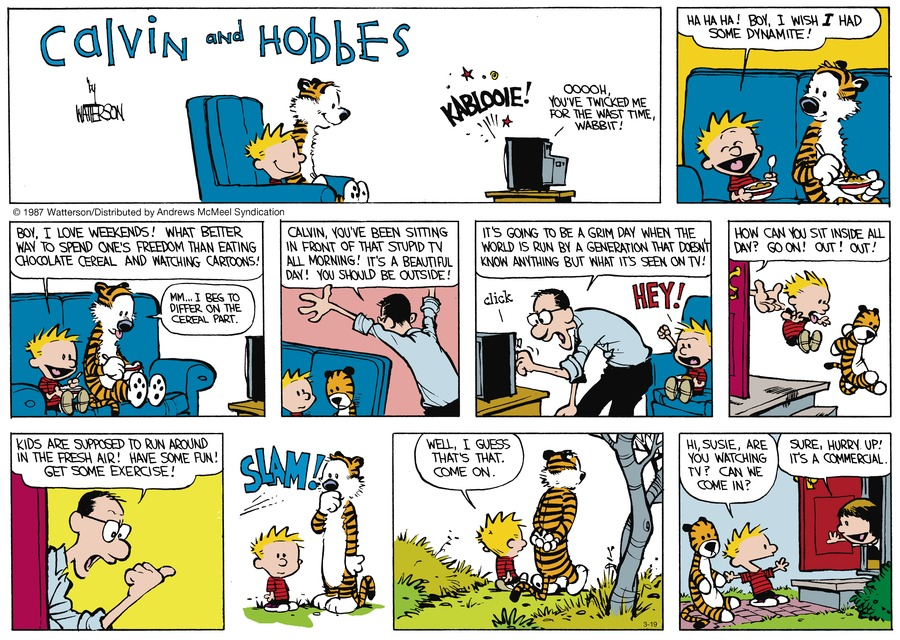 Calvin and Hobbes Comic Strip for March 19, 2017