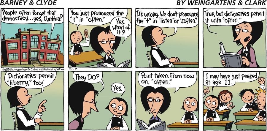 Barney & Clyde Comic Strip for December 07, 2014