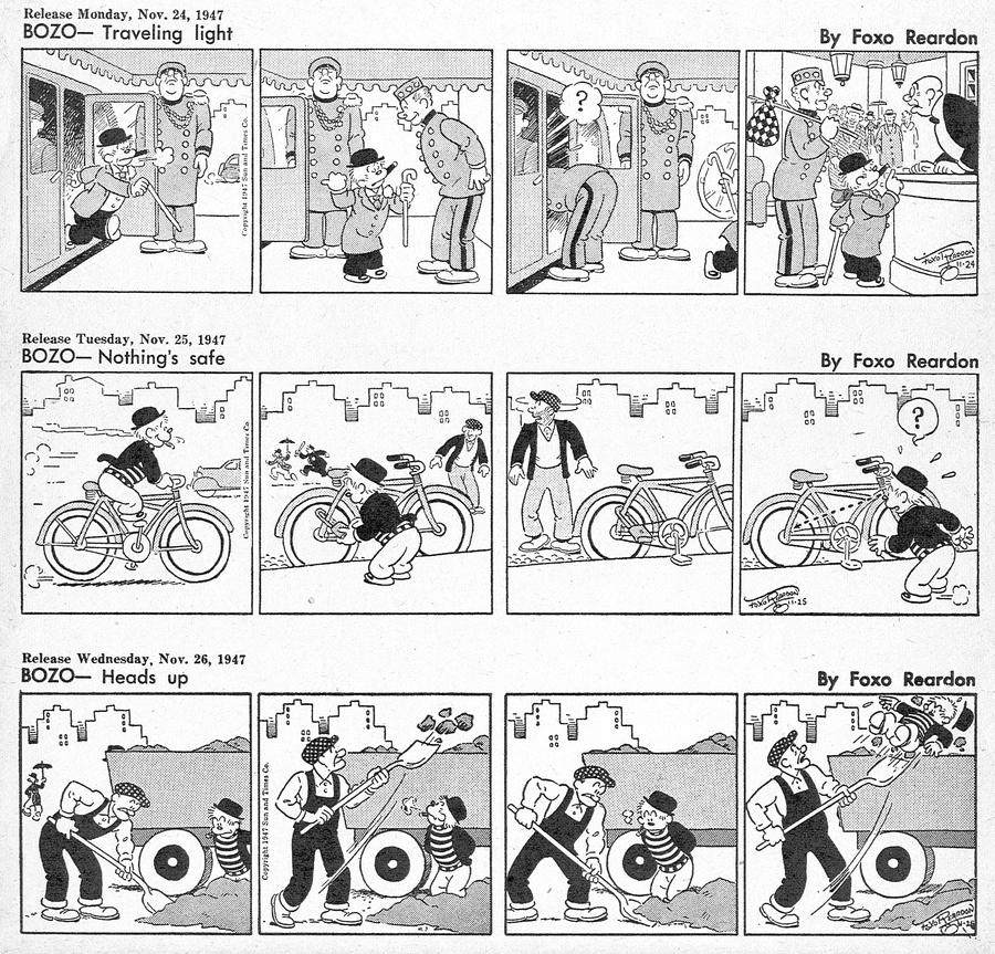 Bozo Comic Strip for November 24, 1947
