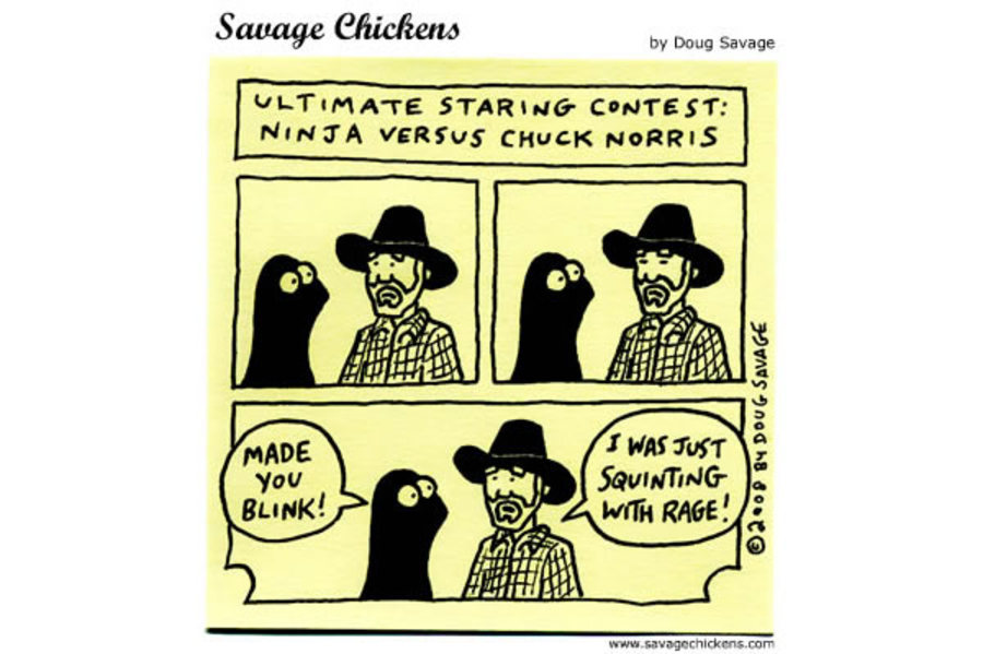 Ultimate staring contest: Ninja versus Chuck Norris