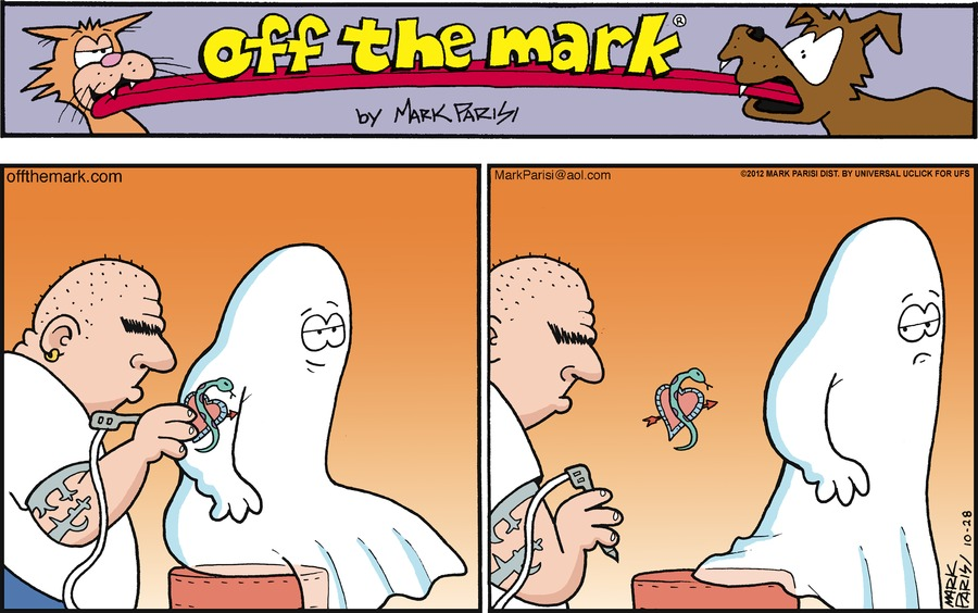 Ghost tries to get tattoo.