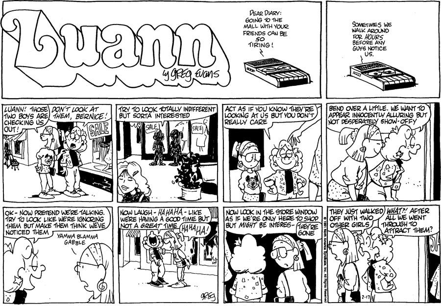 Luann Againn Comic Strip for February 17, 2019