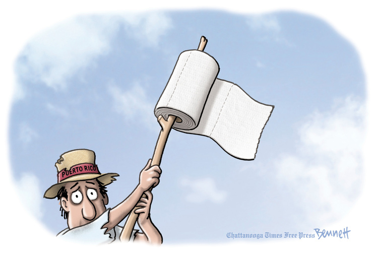 Puerto Rican waving white flag consisting of a roll of paper towels on a stick.