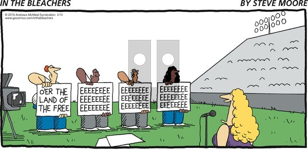 In the Bleachers on Sunday February 10, 2019 Comic Strip