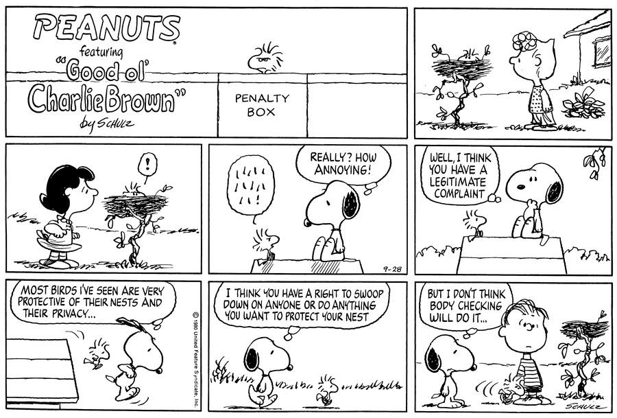 Peanuts Comic Strip for September 28, 1980