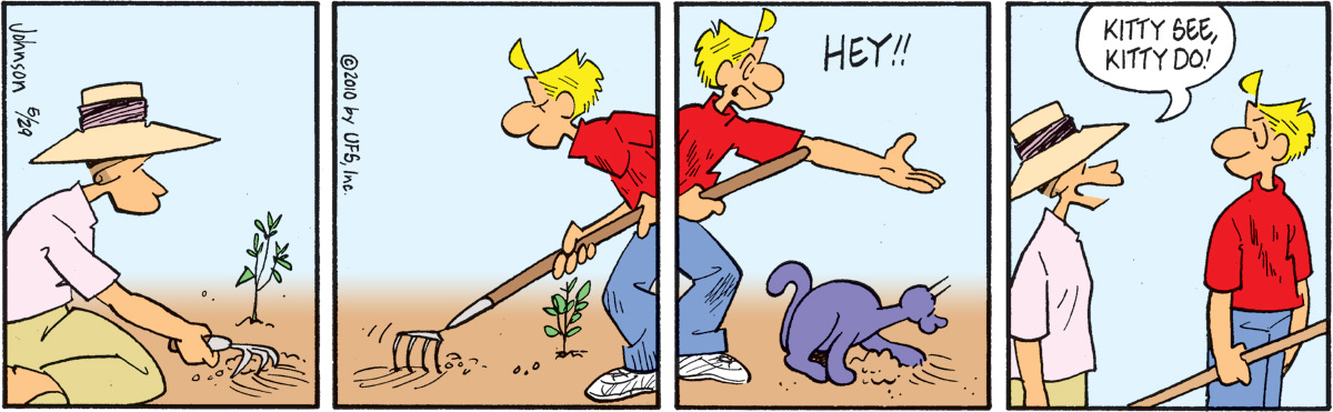 "Arlo says, ""Hey!!"" Janis says, ""Kitty see, kitty do!"""