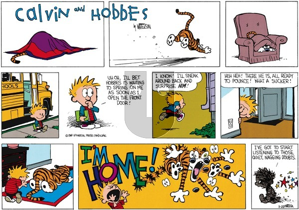 Calvin and Hobbes - Sunday March 20, 1988 Comic Strip