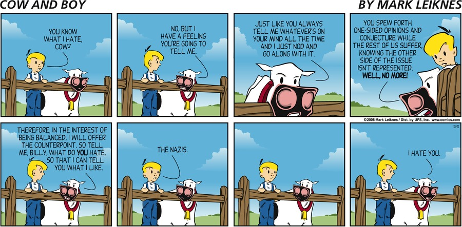 Cow and Boy Classics Comic Strip for October 12, 2008