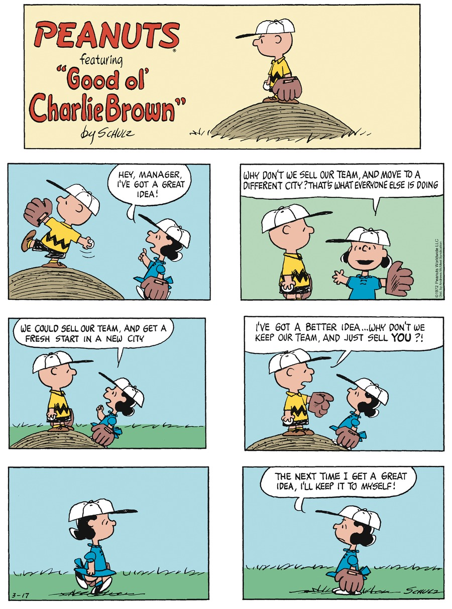 Peanuts by Charles Schulz for March 17, 2019