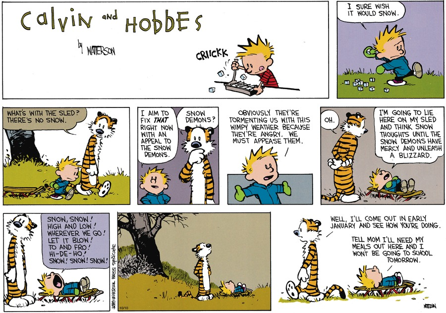 Calvin and Hobbes Comic Strip for November 12, 1989