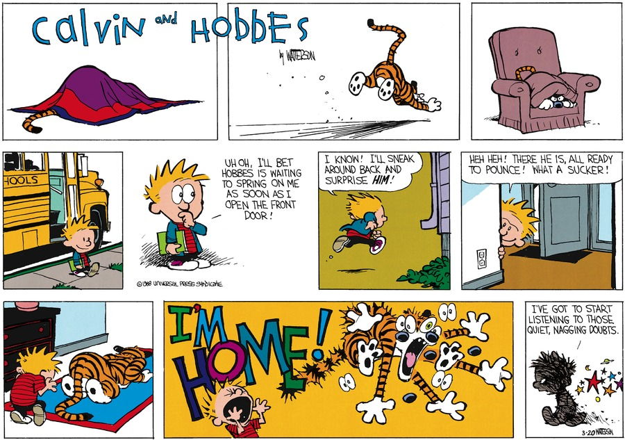 Calvin and Hobbes Comic Strip for March 20, 1988