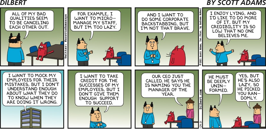 Bad Qualities Cancel Out - Dilbert by Scott Adams