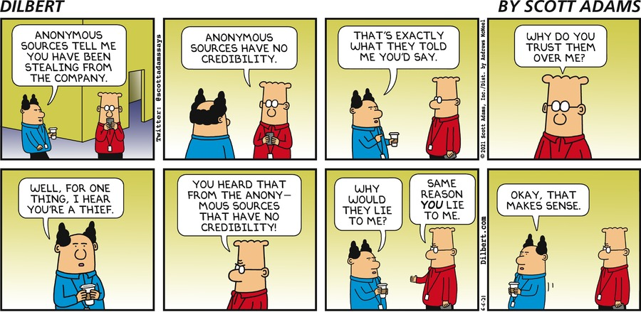 Anonymous Sources - Dilbert by Scott Adams