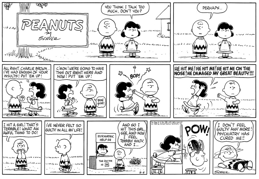 Peanuts Comic Strip for August 08, 1965