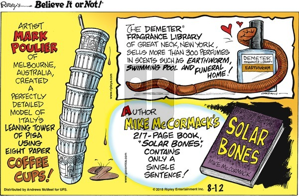 Ripley's Believe It or Not on Sunday August 12, 2018 Comic Strip