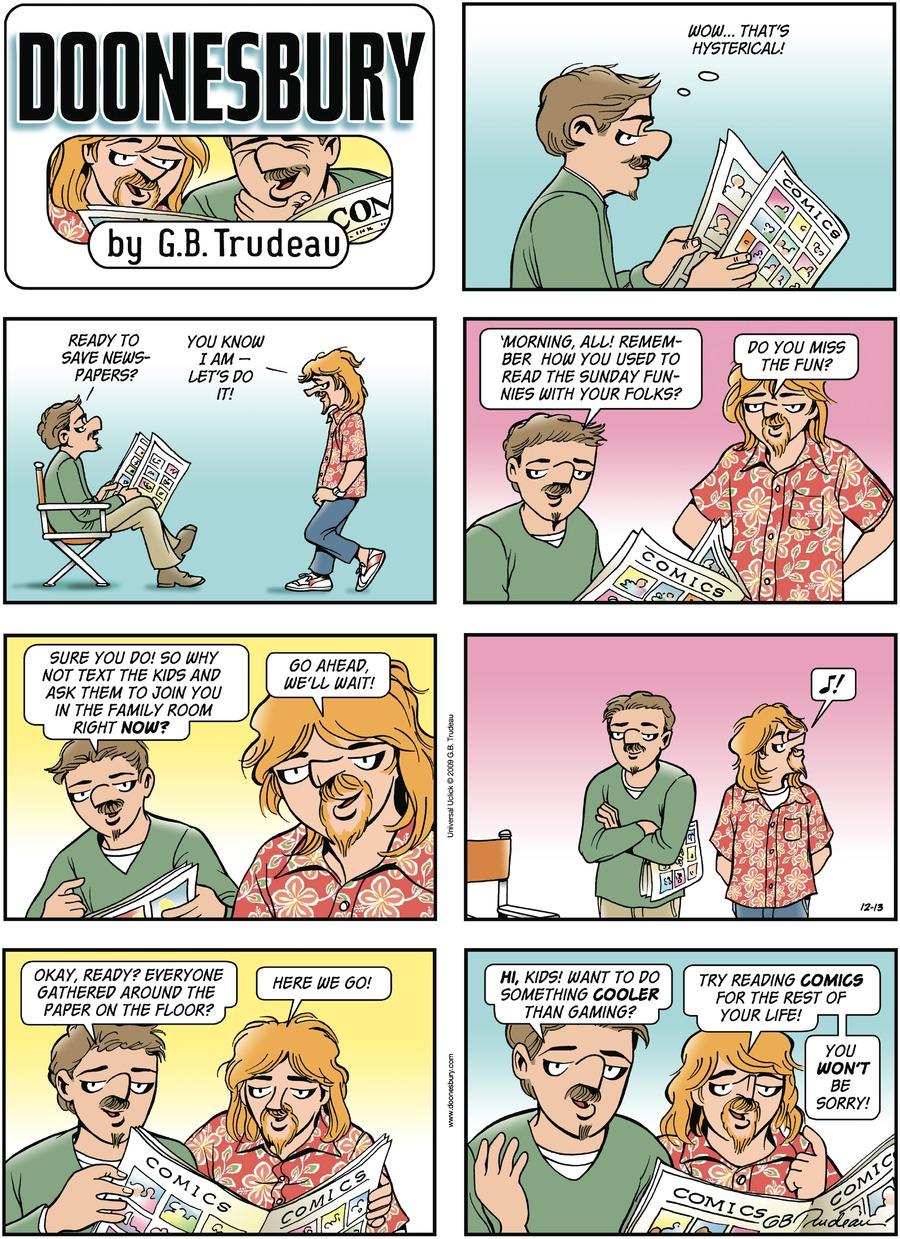 Doonesbury Comic Strip for December 13, 2009