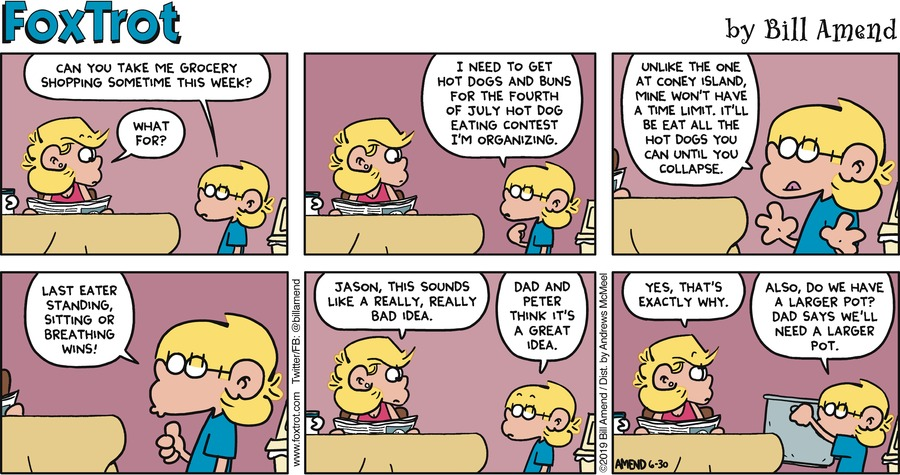 FoxTrot by Bill Amend for June 30, 2019