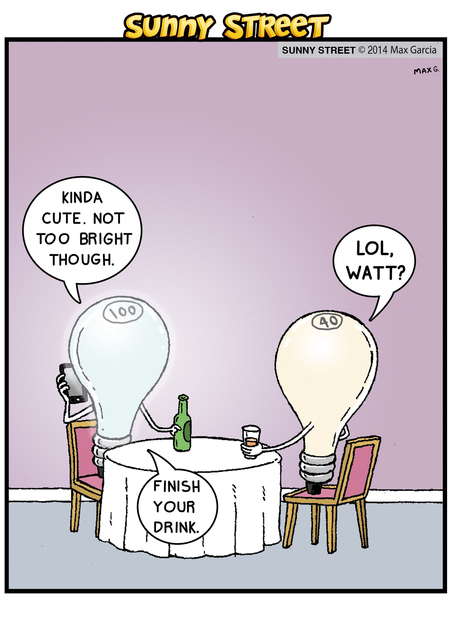 Light bulb 1: Kinda cute. Not too bright though. 