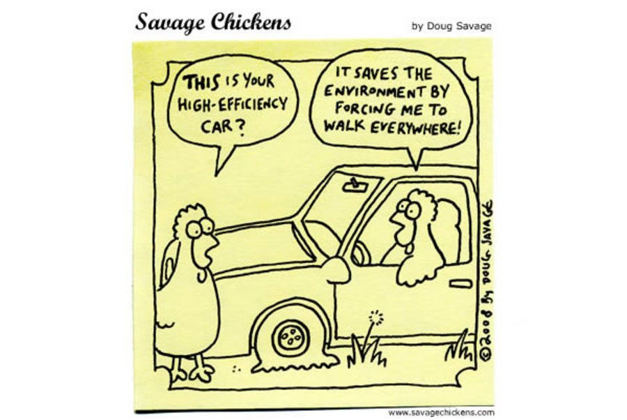 Chicken 1: This is your high-efficiency car? 