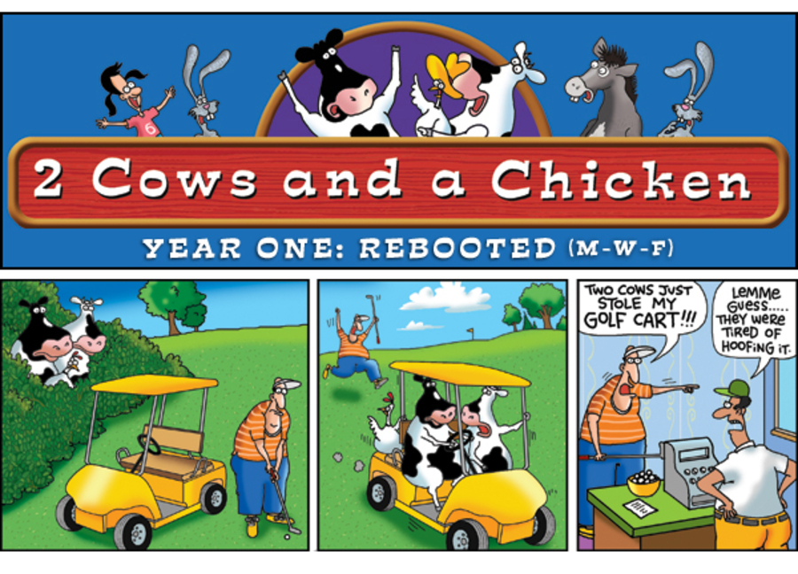 2 Cows and a Chicken for Dec 17, 2012 Comic Strip