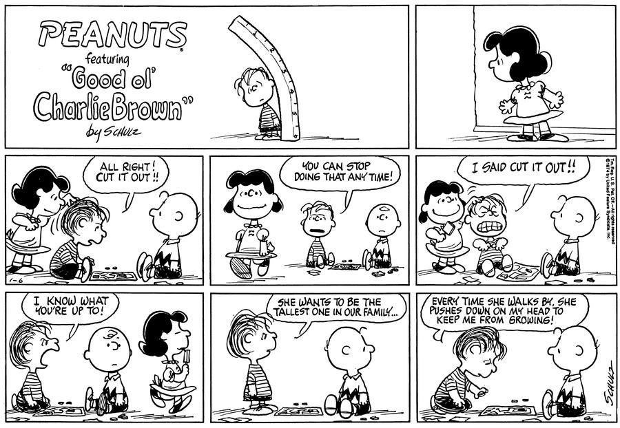 Peanuts Comic Strip for January 06, 1974