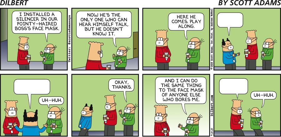 Silencer In Facemask - Dilbert by Scott Adams