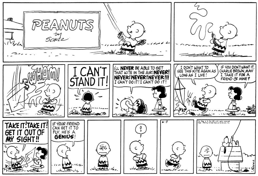 "Charlie Brown holds a kite string.<BR><BR> Suddenly the kites string goes slack and the kite plummets to the ground.<BR><BR> Charlie Brown screams ""I can't stand it!""<BR><BR> Lucy watches as Charlie Brown pounds his fists on the ground and shouts, ""I'll never be able to get that kite in the air!  Never! Never! Never! Never!!!  I can't do it!  I can't do it!""<BR><BR> Charlie Brown kicks the kite and says, ""I don't want to see this kite again as long as I live!""  Lucy says, ""If you don't want it, Charlie Brown, may I take it for a friend of mine?""<BR><BR> Charlie Brown throws it at Lucy and says, ""Take it!  Take it!  Get it out of my sight!!""<BR><BR> Charlie Brown shouts, ""If your friend can get it to fly, he's a genius!""<BR><BR> Charlie Brown glowers.<BR><BR> Charlie Brown looks up into the air with surprise.<BR><BR> Charlie Brown runs over to find Snoopy lying on his doghouse flying Charlie Browns' discarded kite.<BR><BR>"