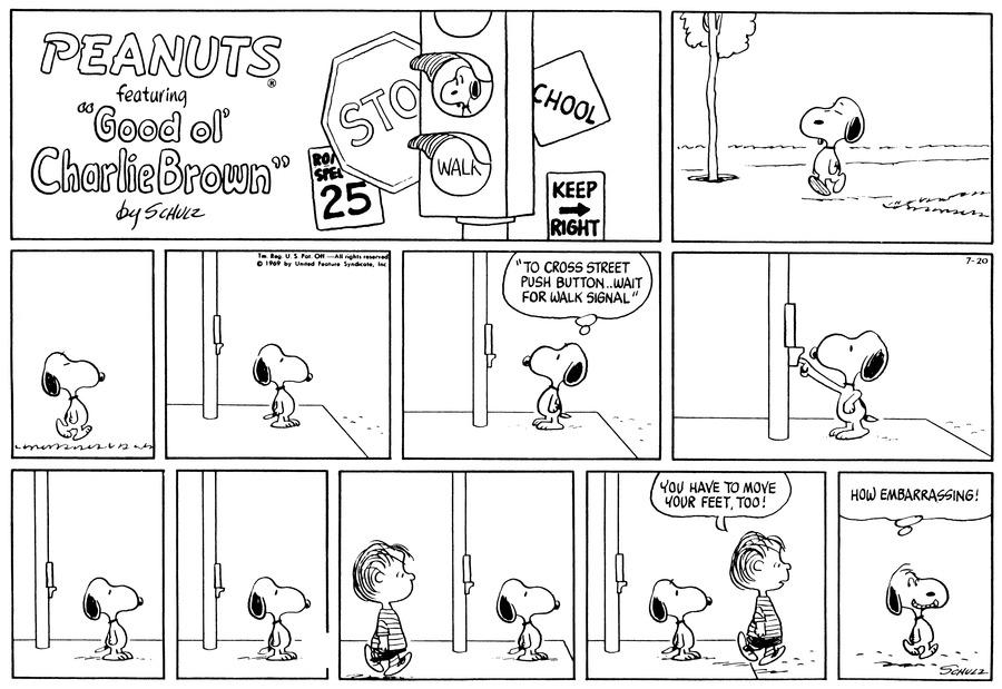 Peanuts Comic Strip for July 20, 1969