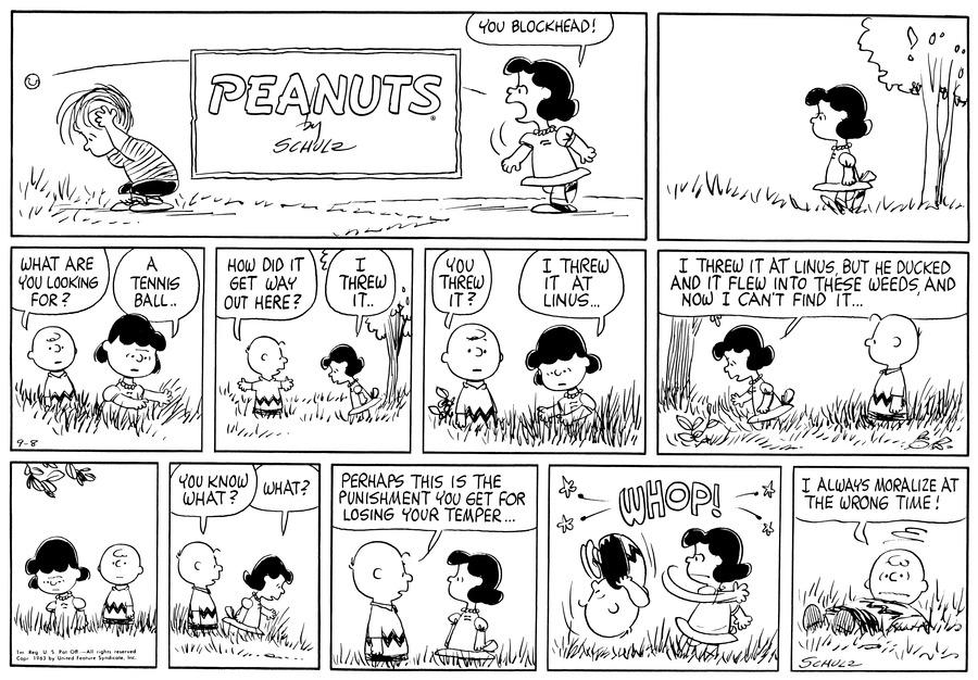 Peanuts Comic Strip for September 08, 1963