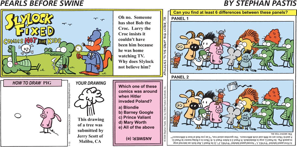 Pearls Before Swine Comic Strip for January 13, 2008