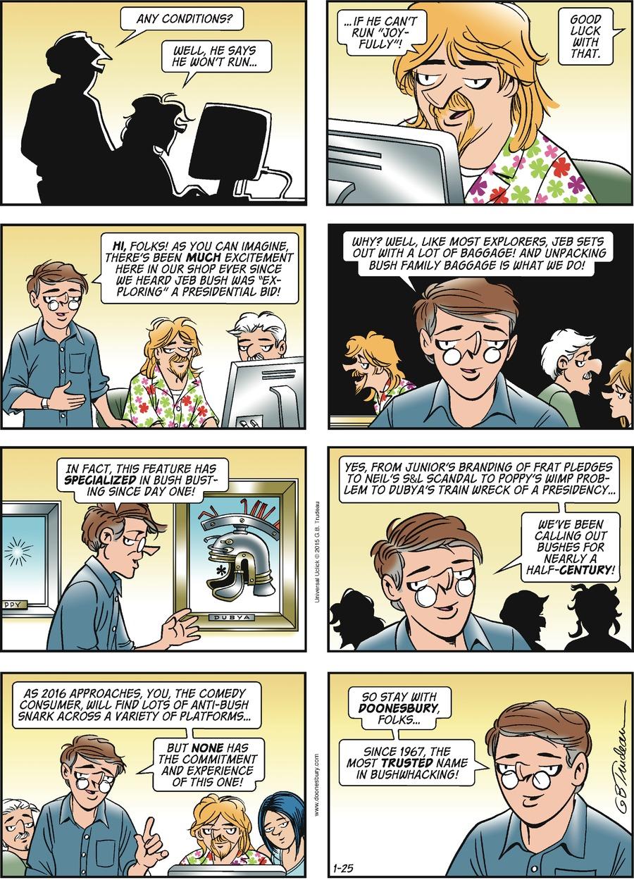 Doonesbury for Jan 25, 2015 Comic Strip