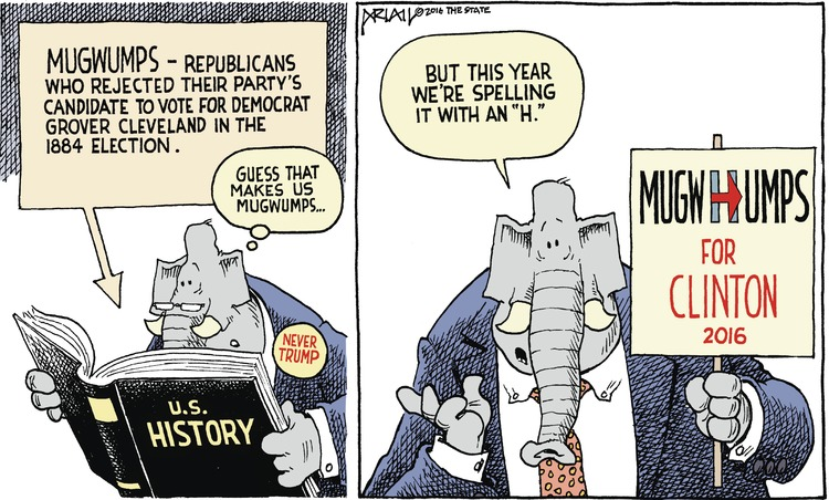 U.S. History book: Mugwumps-republicans who rejected their party's candidate to vote for democrat Grover Cleveland in the 1884 election. 