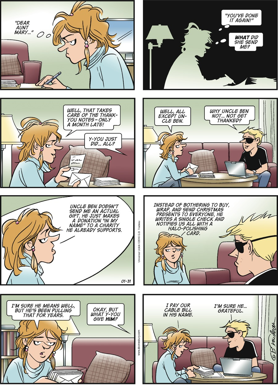 Doonesbury Comic Strip for January 31, 2016