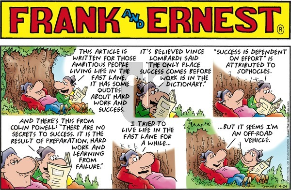 Frank and Ernest on Sunday April 24, 2016 Comic Strip
