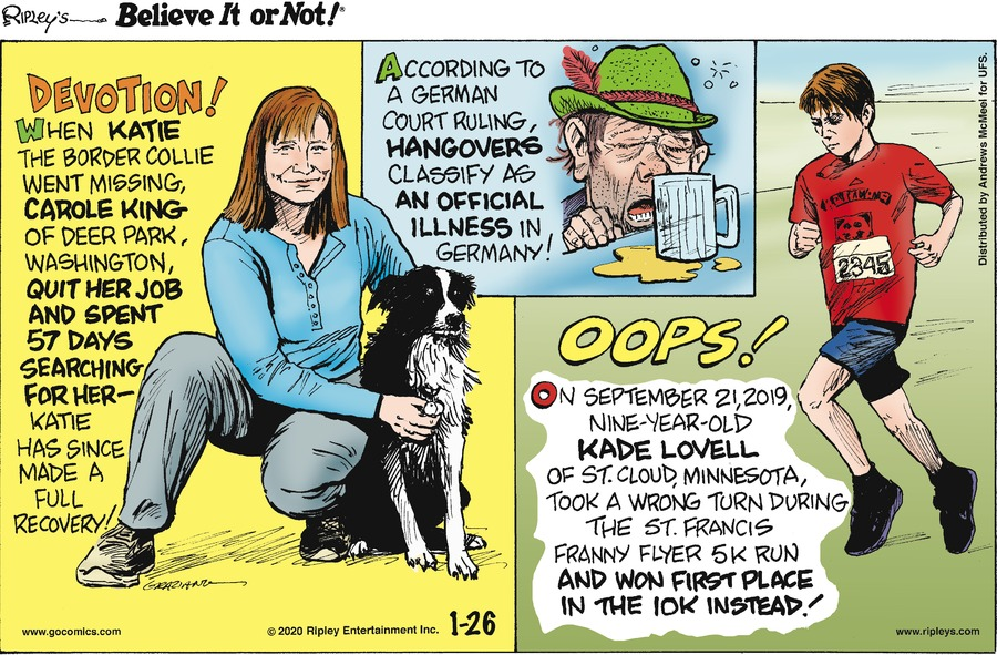 Ripley's Believe It or Not Comic Strip for January 26, 2020