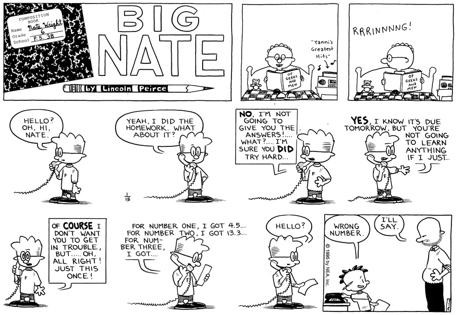 Big Nate Comic Strip for January 15, 1995
