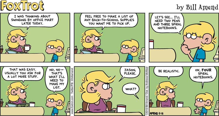 FoxTrot Comic Strip for August 18, 2019
