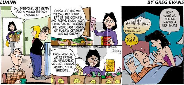 Luann on Sunday January 5, 2003 Comic Strip