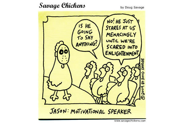 Chicken 1: Is he going to say anything?